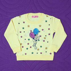 "Bluza galbena "" Baloane colorate"", cu maneca lunga"