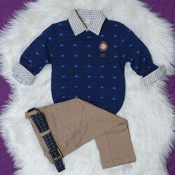 "Set 3 piese "" Fashion boy"" , pulover albastru, camasa in dungulite si pantaloni bej"