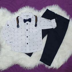 Set 2 piese, camasa alba model stelute cu papion, pantaloni bleumarin cu bretele detasabile