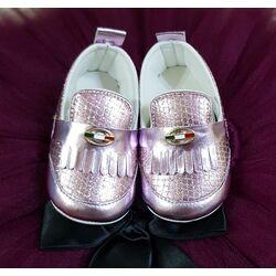 Papucei eleganti roz, cu sclipici,  marimea 18, 11.5 cm interior
