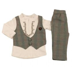 "Set elegant 2 piese "" Ritm de dans"", bluza alba cu vesta atasata, pantaloni in carouri"