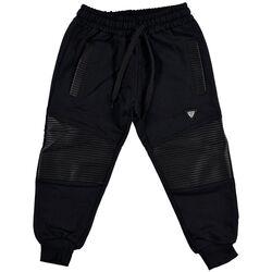 Pantaloni negri de trening, cu insertii piele ecologica