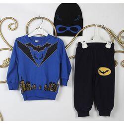 "Trening 3 piese "" Batman"" , bluza albastra, pantaloni negri, caciula tip masca"