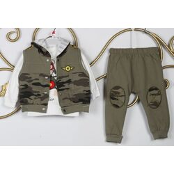 "Trening 3 piese "" Vis de aviator"", bluza alba maneca lunga, vesta si pantaloni model militaresc"