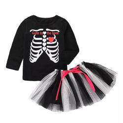 Set Halloween 2 piese , bluza neagra model schelet, fusta tull neagra cu alb