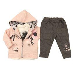 """Set 3 piese """" Flori colorate"""" , bluza alba, hanorac roz cu sclipici, pantaloni gri"""