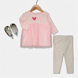 """Set 3 piese """" Love pink"""", bluza tip rochita, leggings gri, papucei argintii"""