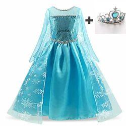 Rochie lunga printesa Elsa + coronita