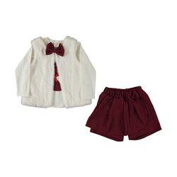"Set 3 piese ""Pisica indragostita"" , vesta alba , bluza maneca lunga si pantaloni scurti tip fusta in carouri"