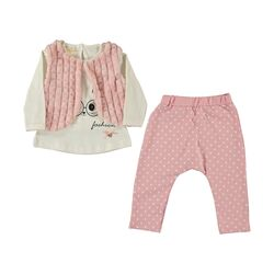 "Set 3 piese ""Iepurasul cool"" , bluza alba maneca lunga, vesta blanita, pantaloni roz cu buline"