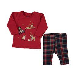 """Set Craciun 2 piese """"Renii mosului"""", bluza rosie, leggings in carouri"""