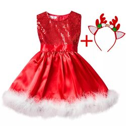 Rochie rosie craciunita, cu paiete rosii si blanita alba, coronita cadou