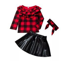 "Set 3 piese ""Red love"", bluza rosie in carouri, fusta piele ecologica si bentita"