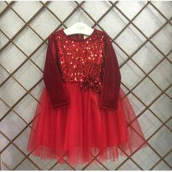 Rochie catifea rosie, eleganta, maneca lunga, cu paiete si tull