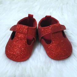 Papucei bebelusi, rosii cu sclipici