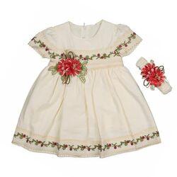 Rochie de vara, maneca scurta, motiv traditional, bentita inclusa