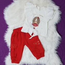 """Set vara 2 piese """" Eu, unicornul"""", tricou alb cu broderie, pantalon rosu bufant 3/4"""