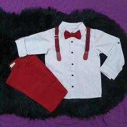 Set 2 piese, camasa alba cu papion, pantaloni rosii cu bretele detasabile