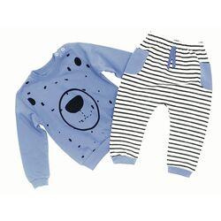 """Set 2 piese """"Ursuletul zambaret"""", bluza cu picatele si pantaloni in dungi"""