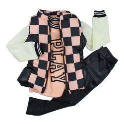 """Set 3 piese """"Sah mat"""", vesta in carouri negre cu roz, bluza maneca lunga, leggings piele ecologica"""