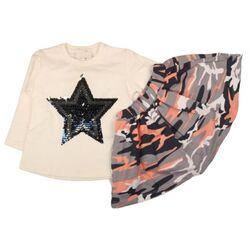 "Set 2 piese "" Army star"", bluza alba maneca lunga, fusta model camuflaj"