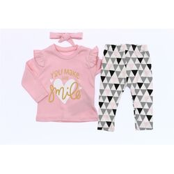 "Set 3 piese ""Zambet de copil"" , bluza roz maneca lunga, pantaloni model geometric si bentita"