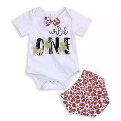 Set aniversar 1 an, body alb, chilot model animal print