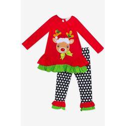"Set Craciun 2 piese ""Rudolf"", bluza rosie, pantaloni negri cu buline"