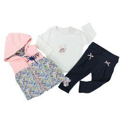 "Set 3 piese "" Camp de flori"", vesta cu gluga roz, bluza alba, pantaloni bleumarin"