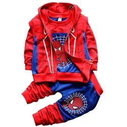 "Trening 3 piese  ""Spiderman"", vesta cu gluga, bluza maneca lunga si pantaloni"