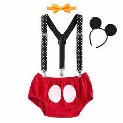 "Set aniversar ""Mickey"", chilot rosu cu bretele, papion galben si coronita"