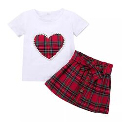 "Set vara 2 piese "" Caro heart"" , tricou alb  , fusta rosie in carouri"