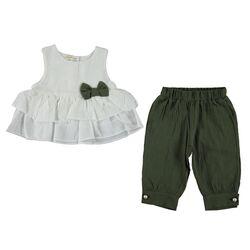 "Set 2 piese ""Vant de vara"", bluza alba cu volanase, pantaloni bufanti 1/2 verde militar"