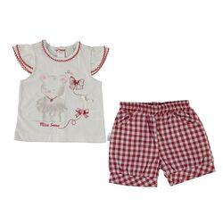 "Set vara 2 piese "" Miss Ursulet"", tricou alb , pantaloni in carouri alb cu rosu"