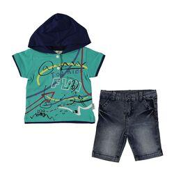 """Set vara 2 piese """" Fun kids"""", tricou verde cu gluga albastra , blugi scurti"""