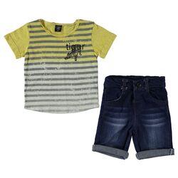 """Set vara 2 piese """" Tiger"""" , tricou galben cu dungulite gri, blugi scurti"""
