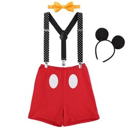 "Set aniversar 2 ani ""Mickey"", pantalon rosu cu bretele , papion galben si coronita"