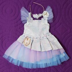 "Rochie eleganta "" Printesa din adancuri"" , tull multicolor, prevazuta cu coronita"