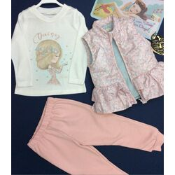 "Set 3 piese ""Daisy"", vesta cu volanase, bluza alba, pantaloni roz"