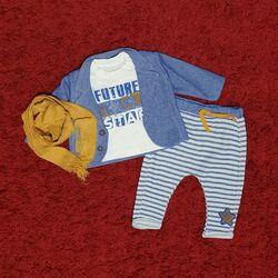 "Set 4 piese ""Star rock"", sacou albastru, bluza alba, pantaloni dungati si esarfa mustar"