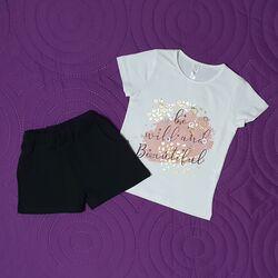 "Set vara 2 piese ""Salbatica si frumoasa"", tricou alb cu aplicatii, pantalon scurt negru"