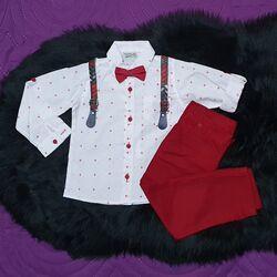 Set 2 piese, camasa cu stelute si papion, pantaloni rosii cu bretele detasabile