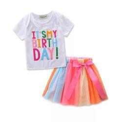 "Set aniversar "" Este ziua mea"", tricou alb , fusta tull multicolor"