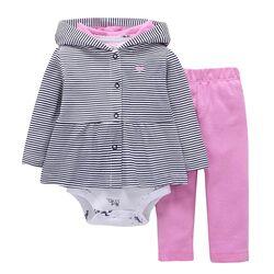"Set 3 piese "" Plimbare in parc"" bluza descheiata, body maneca lunga si leggings roz"