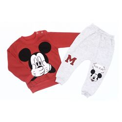 "Trening 2 piese "" Secretul lui Mickey"", bluza rosie, pantaloni gri"
