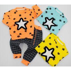 "Set 2 piese ""Cer de stele"", bluza portocalie, pantaloni gri"