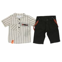 Set vara 2 piese , camasa in dungi tip tunica , pantaloni bleumarin 1/2 cu bretele portocalii