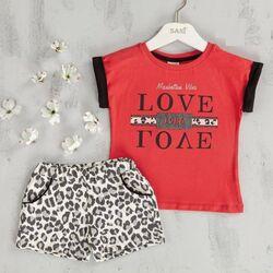 "Set vara  2 piese ""Iubire de leopard"" , tricou rosu, pantaloni scurti animal print"