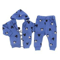 "Trening 3 piese "" Happy Mickey "", hanorac si pantaloni albastri , bluza alba maneca lunga"
