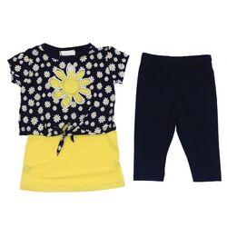 """Set vara 2 piese """"Flori de musetel"""", top scurt cu maieu galben incorporat, leggings 3/4 bleumarin"""